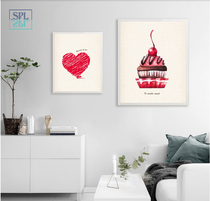 SPLSPL Dessert Coffee Wall Art Modular Pictures Canvas Print Poster and Paintings for Living Room Decoration No Frame