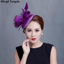 52935db86b456 Accesorios de boda sombrero de señora de la boda sombreros del fascinador  de la novia con la pluma de las mujeres sombreros de l.
