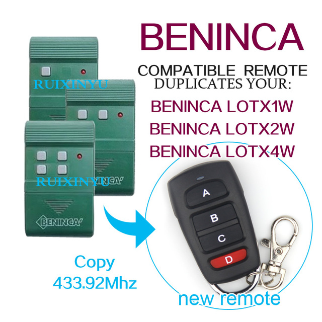 Copy Beninca Lotx2w Lotx4w Remote Control 43392mhz Remotes