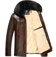 Plus samt verdickung herren leder jacken große pelzkragen winter motorrad lederjacke männer jaqueta de couro masculino