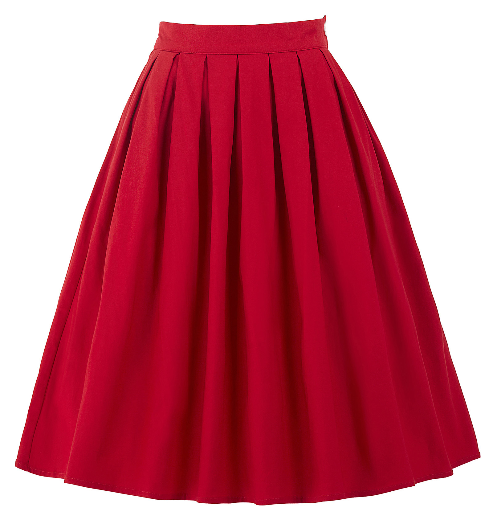 89ecba765c21 Vintage 1950s Plain Red Full Circle Knee Length Woman Skirt Gothic Midi  Cotton Basic Plus Size Skirts