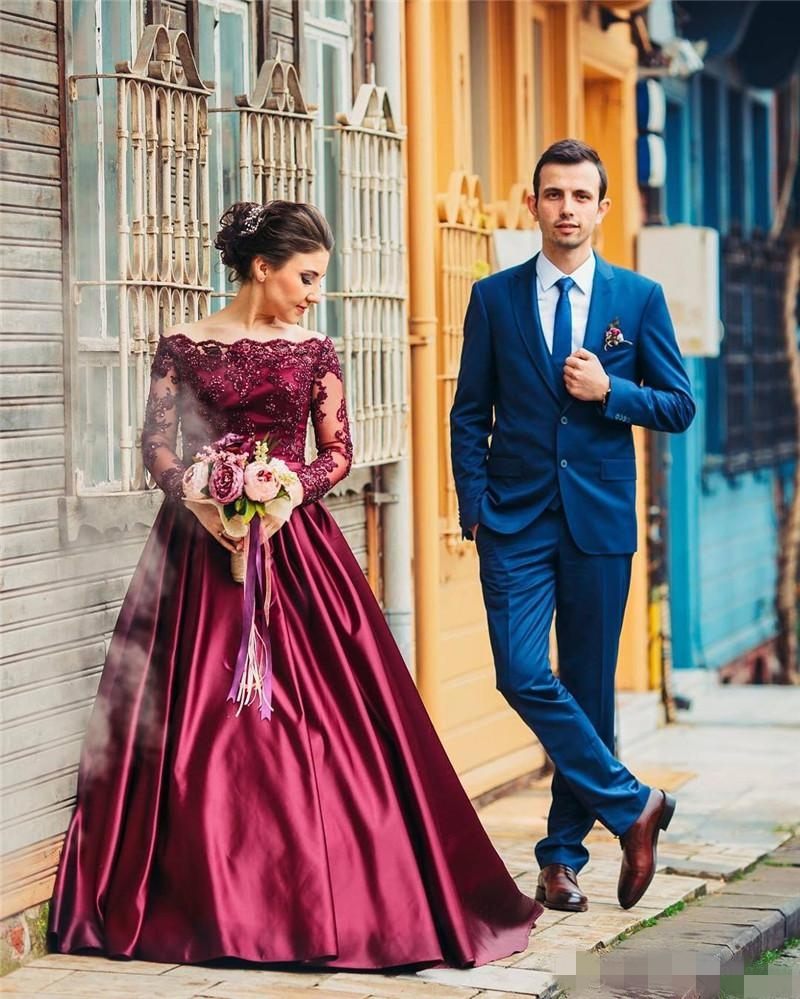 Burgundy Long Sleeves Satin Dubai   Prom     Dresses   2019 Off the Shoulder Beaded Lace Wine Red   Prom   Gowns Formal Evening Party   Dress