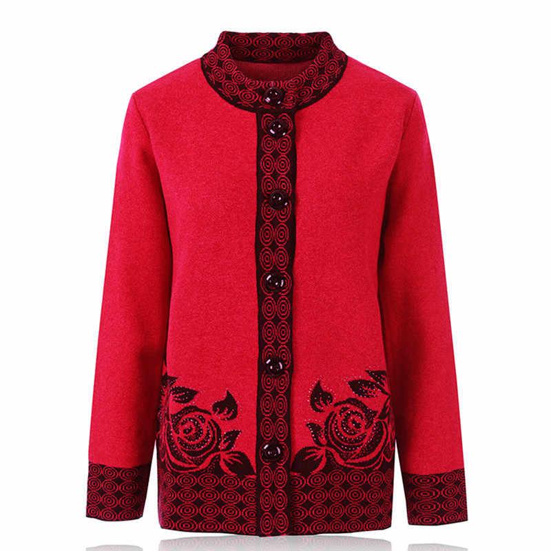 Chaqueta de punto de mujer de mediana edad de otoño invierno suelta tamaño grande suéter cálido de punto femenino de un solo pecho ropa Casual 7XL
