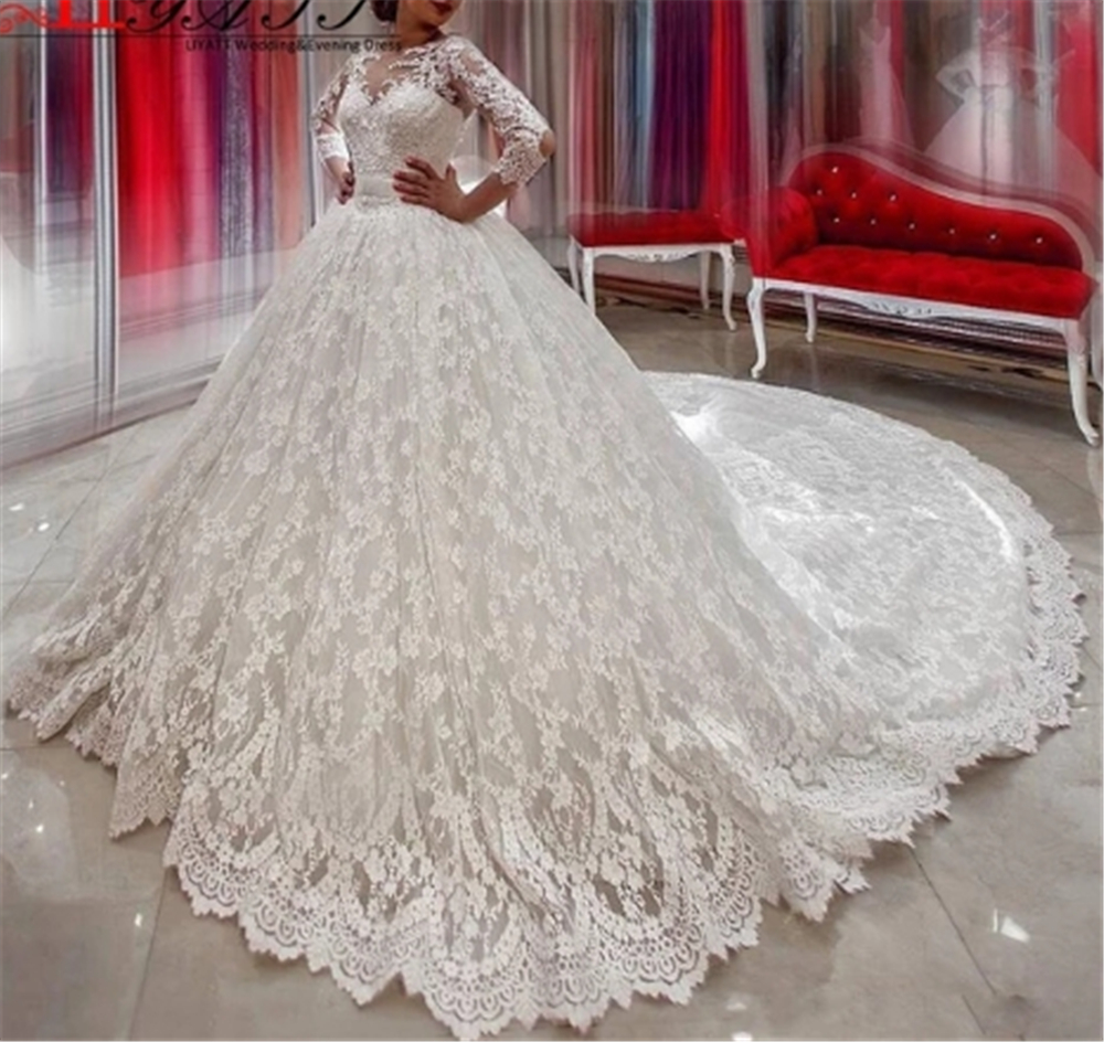 Robes de mariée 2019 Scoop dentelle ceinture arcs Appliques robe de mariée nouvelle princesse robe de bal manches longues ivoire robes de mariée 2019