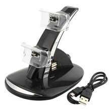 Caliente venta 2 en 1 luz LED negro rápido Dual USB de carga del muelle del soporte del cargador para PlayStation 3 For PS3 consola del controlador