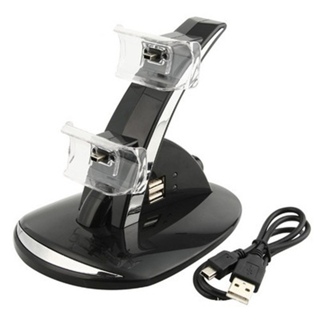 Hot Sale 2 in 1 Black LED Light Quick Dual USB Charging Dock Stand Charger For PlayStation 3 For PS3 Controller Console