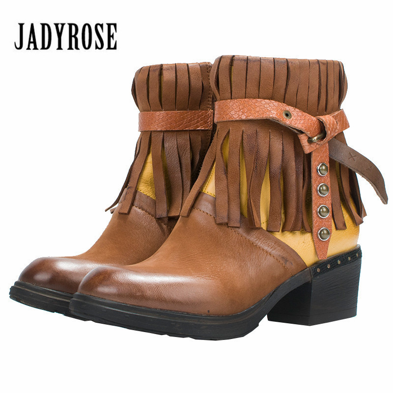 Jady Rose 2018 New Fringed Women Ankle Boots Genuine Leather Chunky High Heel Short Botas Mujer Female Martin Boot Autumn Winter jady rose brown fringed women chunky high heel boots suede slip on women rivets studded rubber boot platform autumn winter botas