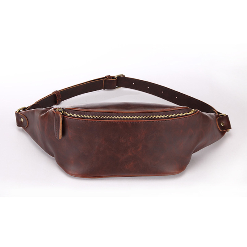 Casual Men's Waist Bags Unisex Waterproof PU Leather Waist Pack Large Capacity Travel Man Chest Bag Handy Fanny Pack Banana Male
