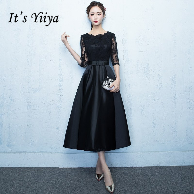 It's YiiYa Little Black O-Neck Half Sleeve Tea-Length Zipper   Prom   Gown Simple Lace Luxury   Prom     Dresses   Dancing Party MX054