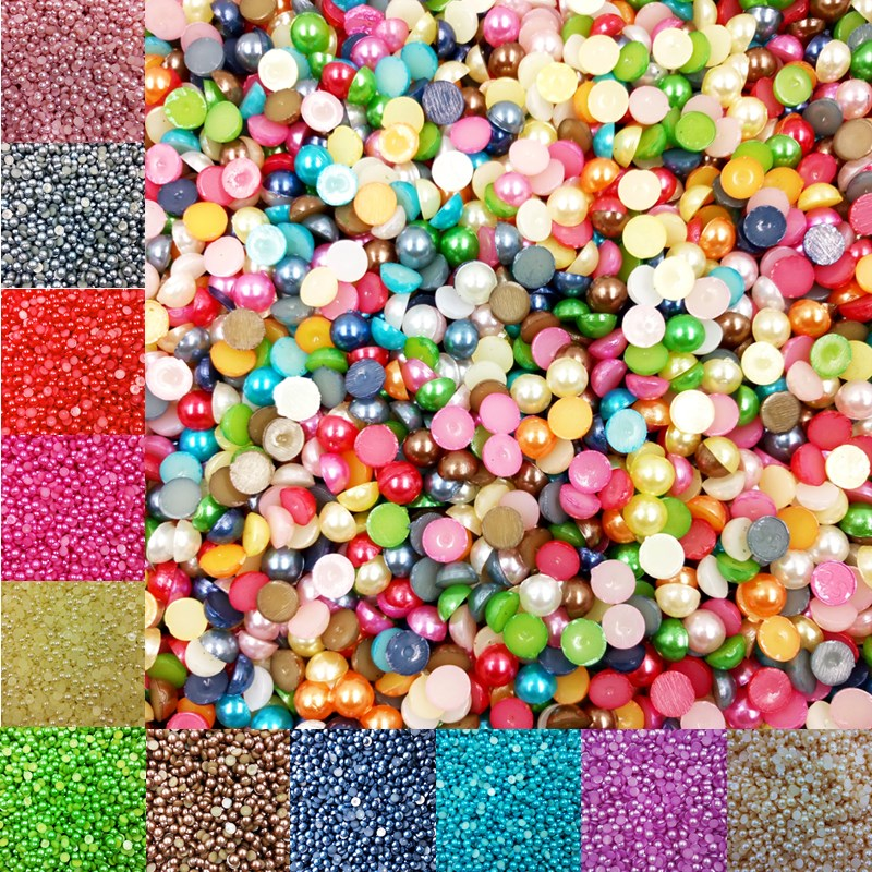 Sale 5MM 600 piece/lot Half Round FlatBack Acrylic Imitation Pearl Beads For DIY Decoration Nail Art Designs Jewelry Accessor ly