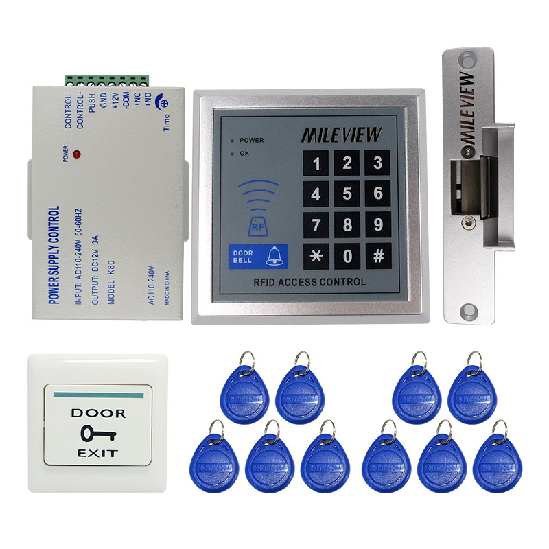 MILEVIEW Cheap! Rfid Door Access Control System Kit Set +Strike Door Lock +Rfid Keypad + Exit Button IN STOCK Free Shipping brand new white rfid entry access control system kit set strike door lock rfid keypad exit button in stock free shipping page 8