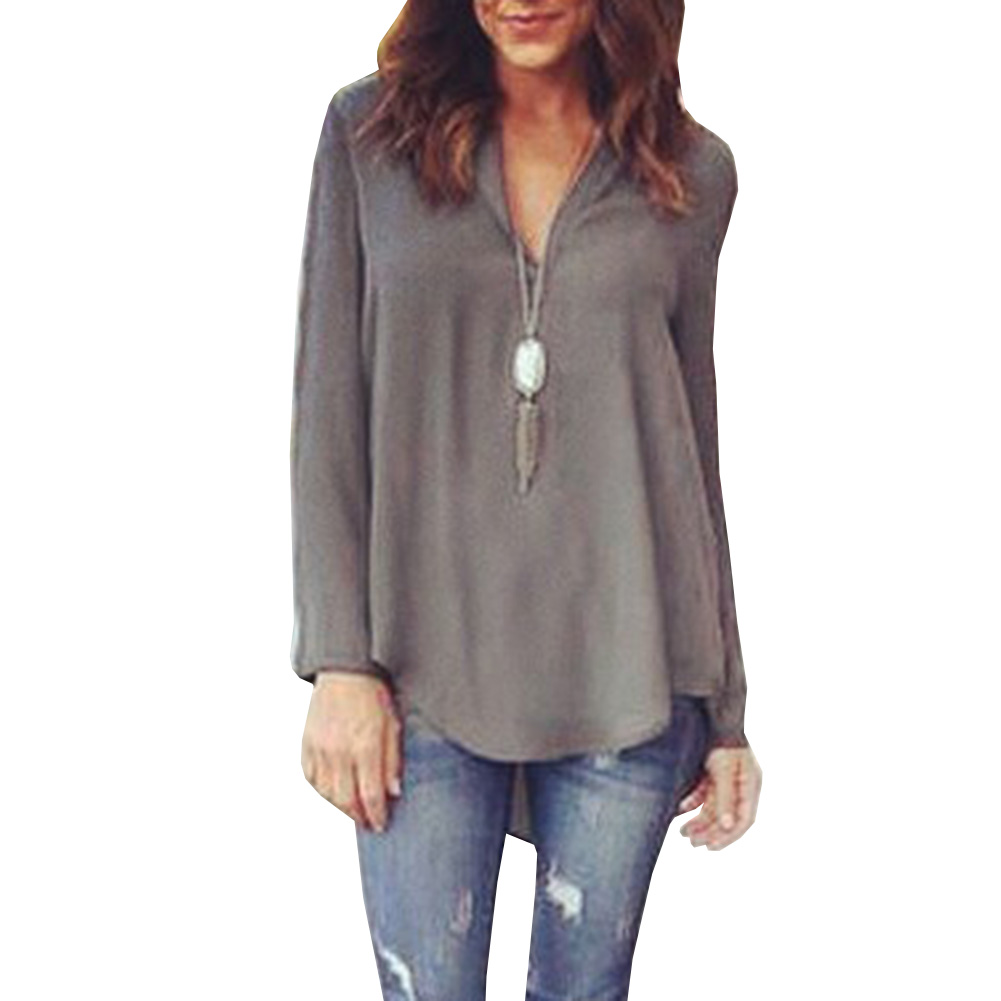 2017 v neck long sleeves large size loose shirt autumn and for Large shirt neck size