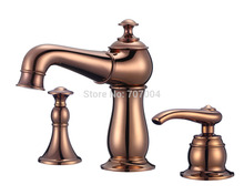 Modern Deck Mount Rose Golden Brass Basin Sink Mixer Tap Single Handle Pull Out Spout with