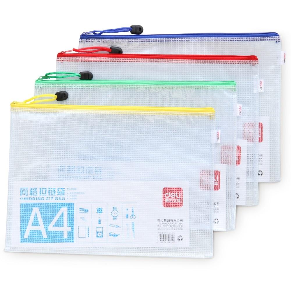 1 Pcs PVC Mesh Zipper Bag A4 Size Waterproof Filing Products File Folder Storage Bag Color Random