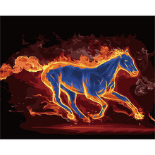 flame horse animal fire Animal DIY Digital Painting By Numbers Modern Wall Art Canvas Painting Unique Gift Home Decor 40x50cm(China)