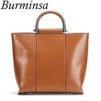 Burminsa Brand Metal Handle Women Genuine Leather Handbags Vintage Popular Gift Ladies Tote Designer Shoulder Messenger