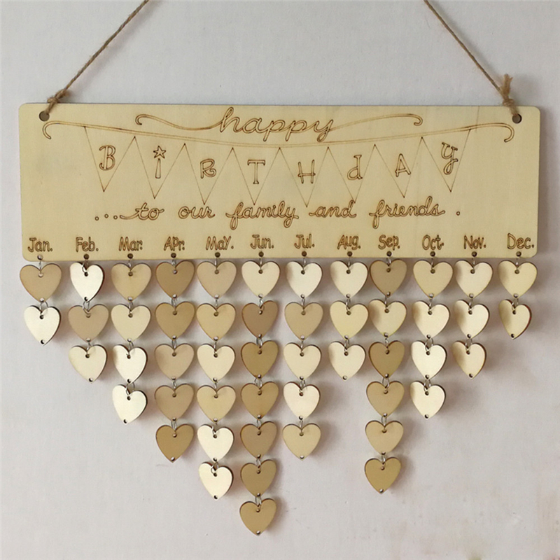 2018 HOT Wooden Hanging Plaque Board Mother&Fathers Day Reminder Plaque Sign Friends DIY Calendar Birthday Gifts Home Decor