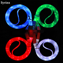 цена на SYRINX USB Cable Micro USB Cable LED Glow Charging Data Mobile Phone Cables For Android iPhone Type c Samsung Huawei Xiaomi
