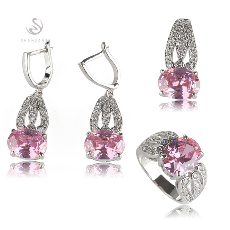 SHUNXUNZE boho wedding charm jewelry sets & more for women accessories Purple Pink Cubic Zirconia Rhodium Plated R531set R534set