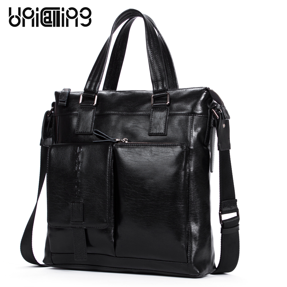 New fashion 2 exterior pockets vertical men brand leather handbag Casual business men shoulder bag first layer of leather men s leather oblique cross chest packs of the first layer of leather deer pattern men s shoulder bag korean fashion men s bag