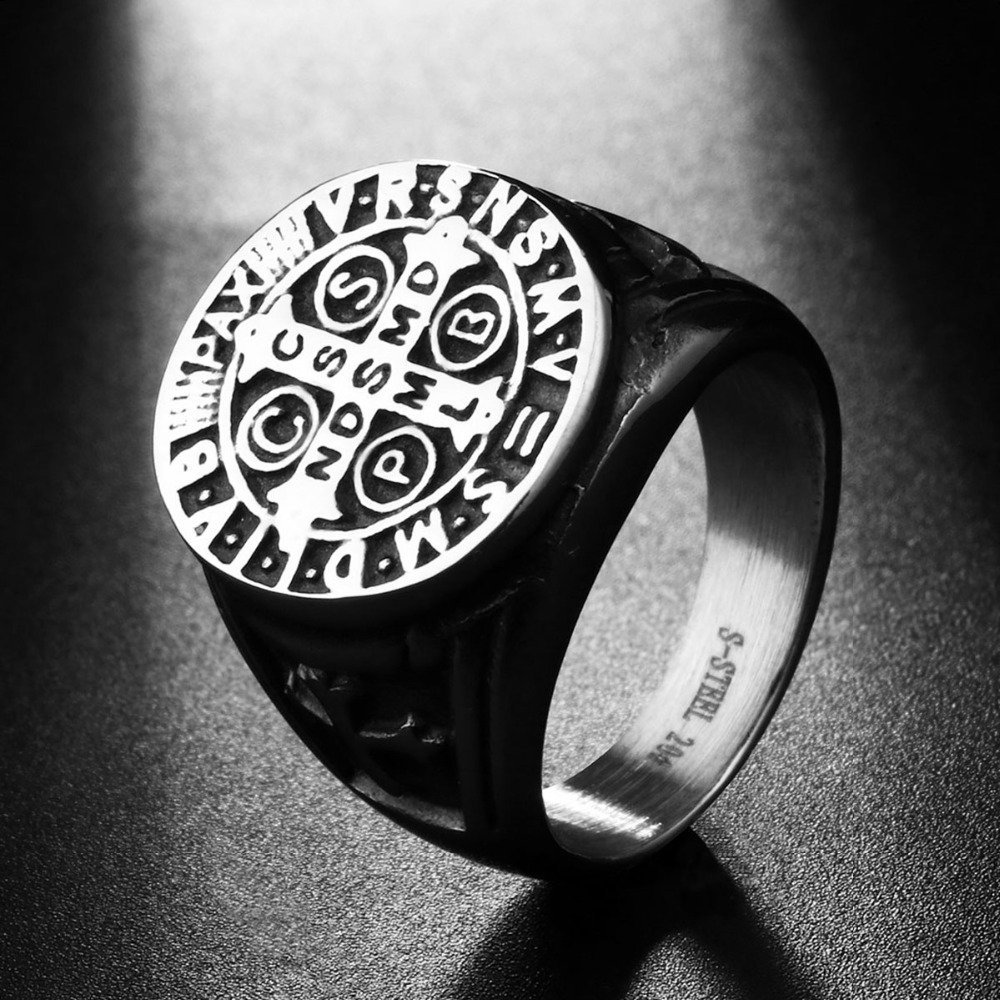 d1c684c1a36 Male Church Jewelry Stainless Steel Silver Tone Cross Scripture Ring for  Men Saint Benedict CSPB Weeding