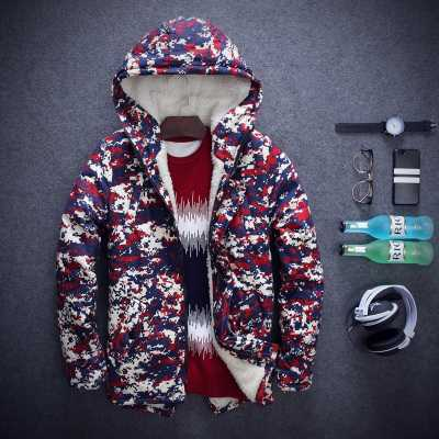 ФОТО Male Outwear 2016 Winter Men Lambs Wool Hooded Cotton-Padded Jacket For Men Camouflage Coat Men Clothes H6870