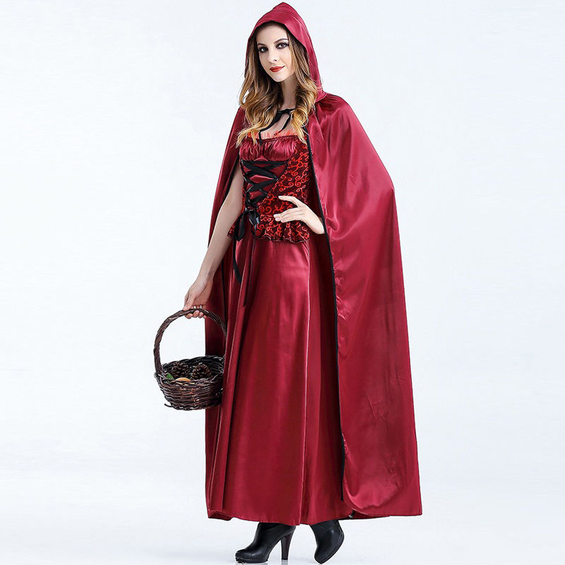 Hot Sale Witch Costumes Dress Christmas Little Red Riding Hood Fairy Tale Witch Costume Holloween Cosplay For Adult W880326