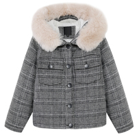 Kadın Giyim Coat Kış Coat Düzenli Kabarık Kürk Trim Kapşonlu Tek Göğüslü Kısa Ceket Sıcak Coat Parka