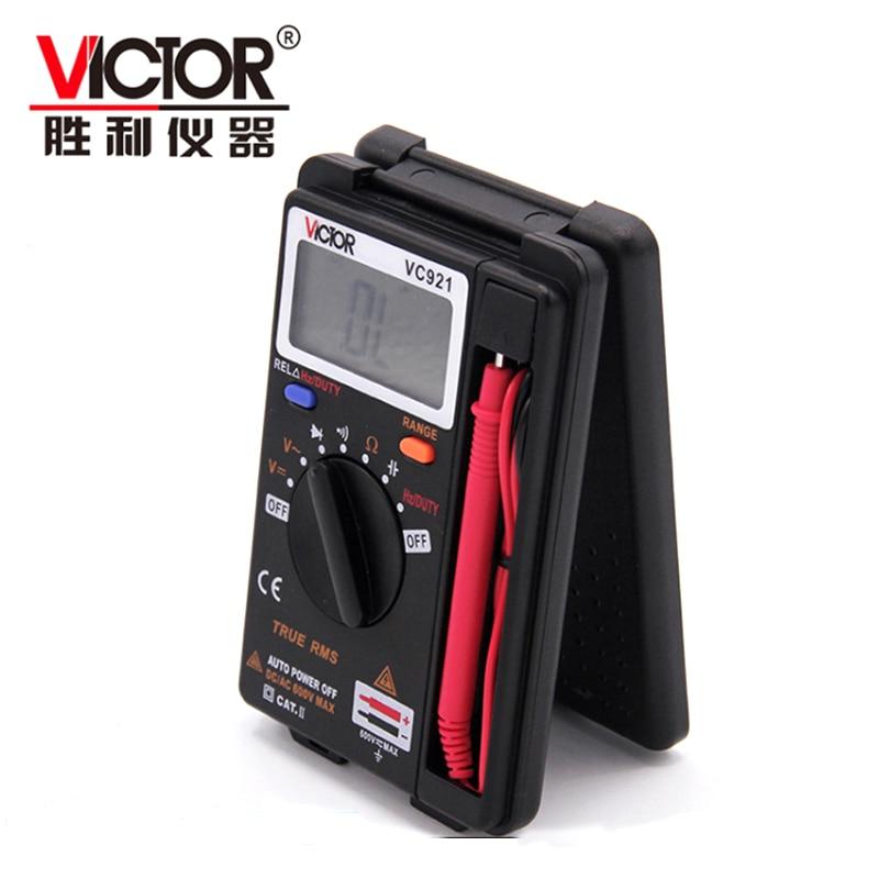 Aletler'ten Multimetreler'de Orijinal VICTOR VC921 3 3/4 Multitester TRUE RMS Elektrik El Cep Mini Dijital Multimetre Otomatik Aralığı voltmetre title=