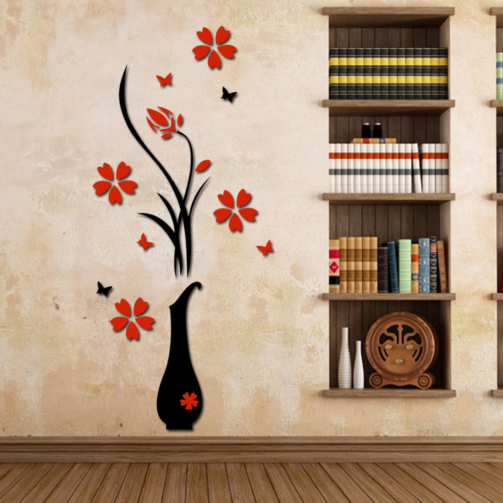 wall stickers acrylic 3d plum flower vase wall stickers home decor wall decal red floral. Black Bedroom Furniture Sets. Home Design Ideas