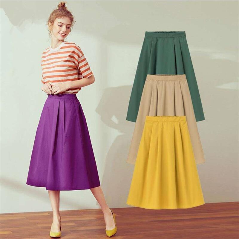 2019 New Spring Summer Women Solid High Waist Elegant Midi Skirts Office Lady Cotton Skirts Plus Size M-7XL Khaki Black
