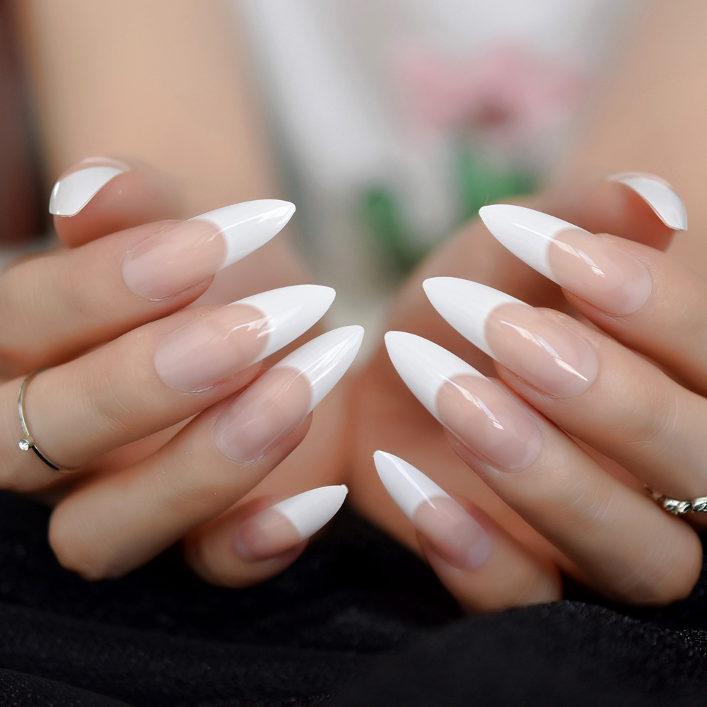 Us 1 99 White French Tips Fake Nails Extra Long Stiletto False Nails Natural Painted Long Party Designed Nails 24 Count In False Nails From Beauty