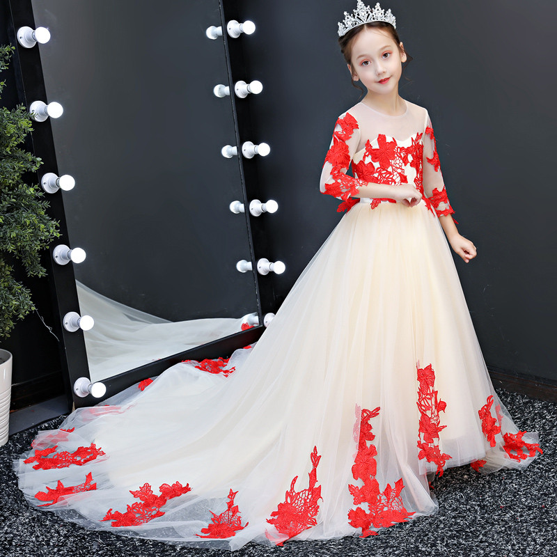 все цены на 2018 Noble Children Girls Embroidery Lace Evening Birthday Party Long Mesh Dress Kids Teens Wedding Party Model Show Prom Dress онлайн