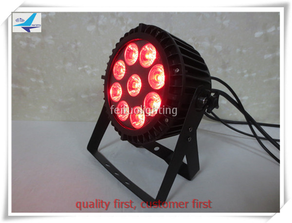T-(12/lot) IP 65 outdoor 9*15W rgbwa 5 in 1 LED Flat Par Light Decorative LED Par Factory Price For DJ /Bar Show
