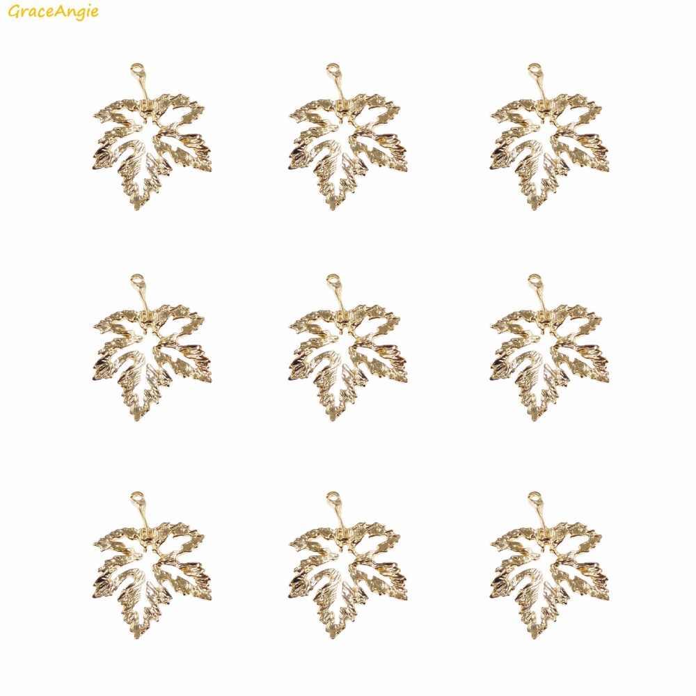 Graceangie 15 Pcs a Forma di Foglia D'oro in Lega di Zinco Alla Moda di Stile Dell'orecchino Della Collana Del Braccialetto Accessori Fatti a Mano I Risultati Dei Monili 19*27mm