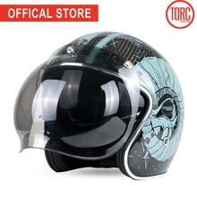 TORC carbon fiber motorcycle helmet bubble visor helmet motorbike motocross jet retro capacete inner visor moto ECE недорого