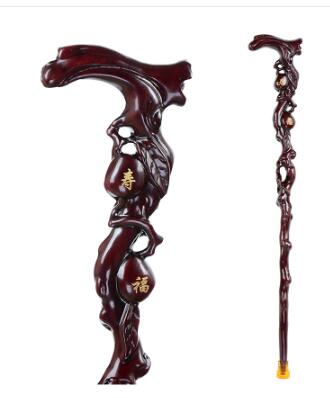 olid Manual sculpture wood crutch is an integrated red wood old cane carving of a cane and birthday gift anti slip