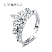 Authentic 100% 925 Sterling Silver Zircon Rings True Love Crown Charm l Women Luxury Valentines Day Gift Jewelr