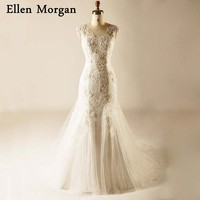 Corset Mermaid Wedding Dresses For Women Wear Appliques Sheer Lace Up Beaded High Quality Sale Online