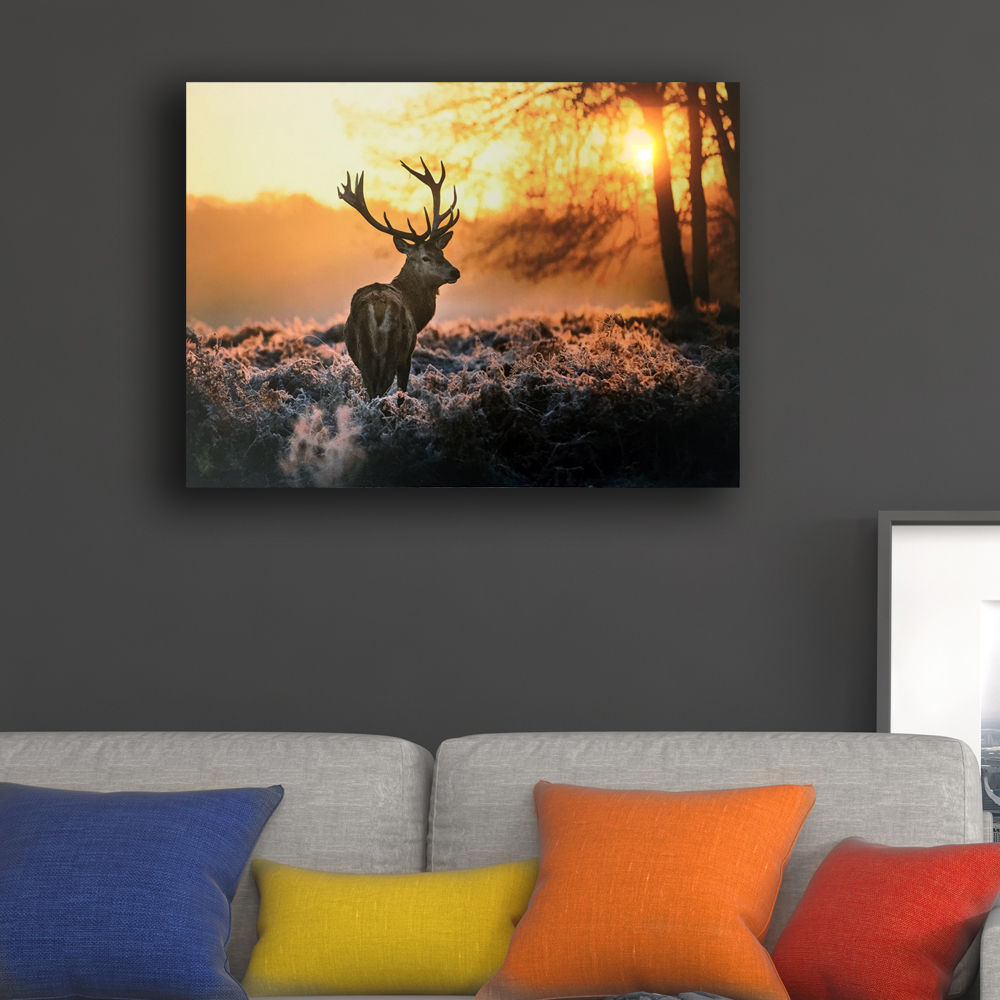Led wall picture deer in sunrise lit field in autumn canvas art light up decor painting artwork wrapped print framed home decor