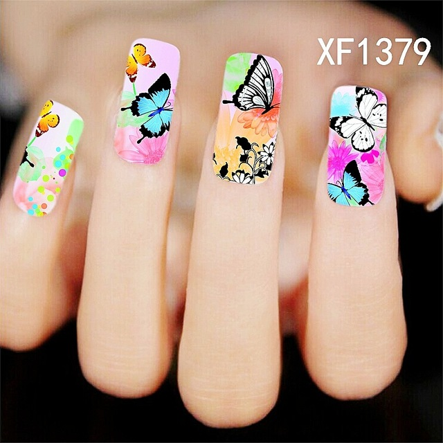 New Full Nail Wrap Water Transfer Nail Art Stickers Decal Colorful