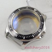 Novo 44mm bliger preto rotativo moldura caixa de aço temperado vidro mineral caber 8215 2836 8215 8205 dg 2813 movimento assista caso Caixas de relógios     -