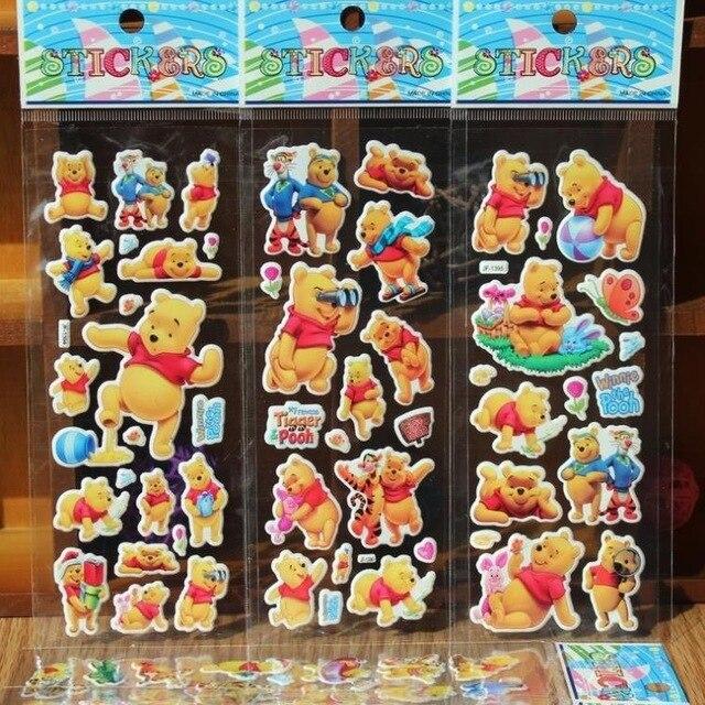 % 10 Sheets/lot 3D Cartone Animato winnie the pooh adesivi Per Bambini Giocattol