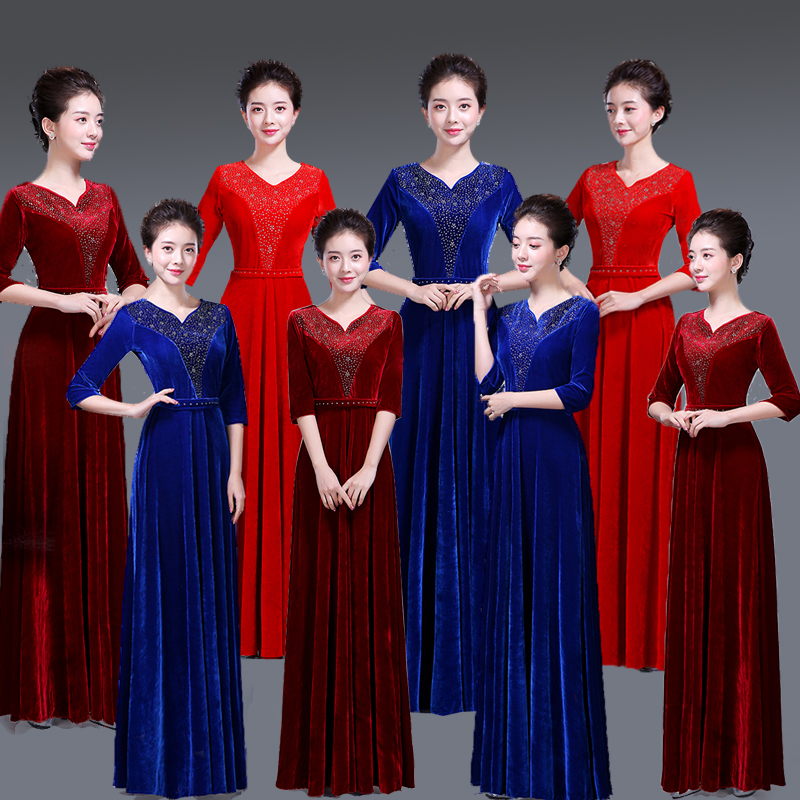 The New Chorus Dress Costumes Adult Female Gold Velvet Dress Slim Middle-aged Clothes Choir