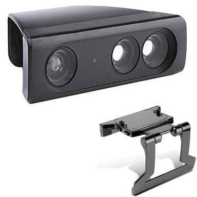 Zoom Play Range Reduction Lens Wide Angl Universal Adapter+Adjustable TV Clip Clamp Mount Stand For Xbox 360 Kinect Sensor