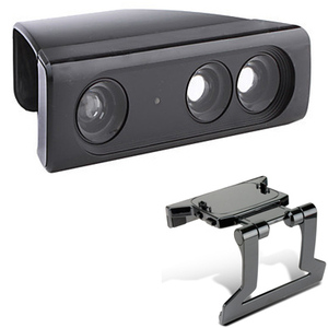 Image 1 - Zoom Play Range Reduction Lens Wide Angl Universal Adapter+Adjustable TV Clip Clamp Mount Stand For Xbox 360 Kinect Sensor