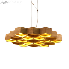 Modern Wooden Pendant Lights Wood Honeycomb Lamp for Living Room Restaurant Bedroom Bar Cafe Home Lighting Decoration
