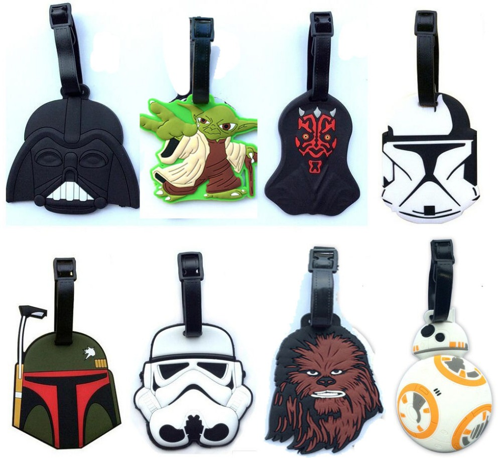Star Wars luggage tap BB8 toys set 2016 New Force Awaken BB-8 boba fett chewbacca Darth Vador clone Trooper Yoda bag decoration image