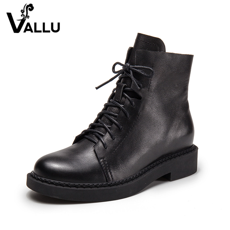 Lace-Up Women' s Boots Shoes Genuine Leather Low Heel Shoes Ladies Square Heel Handmade Height Increasing Women Ankle Boots women s boots