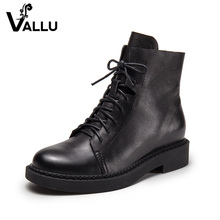 Lace-Up Women' s Boots Shoes Genuine Leather Low Heel Shoes Ladies Solid Casual Square Heel Handmade Women Ankle Boots